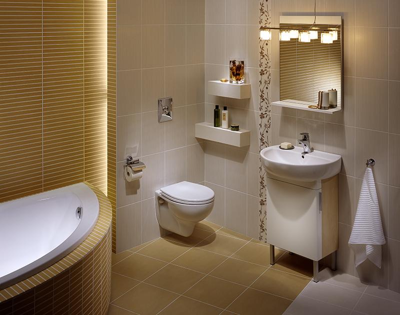 Подвесная сантехника и мебель в ванной 4кв.м