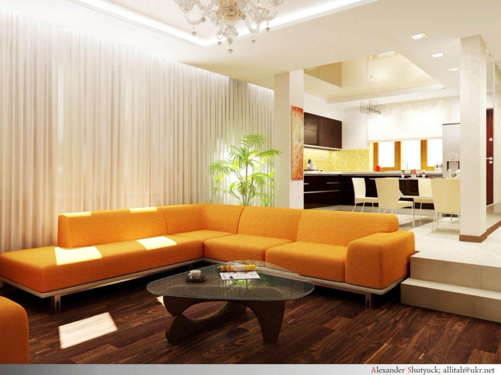 Подиум для зонирования гостиной-кухни