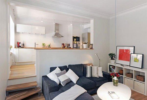 Подиум, как способ зонирования совмещенной гостиной