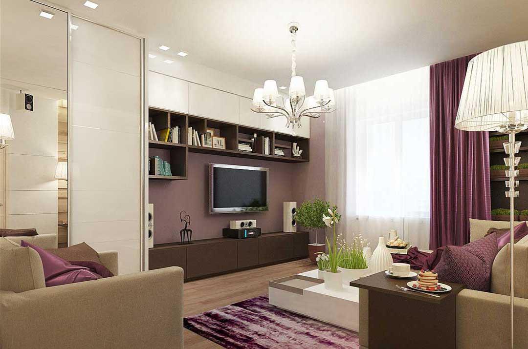 Подсветка зоны дивана и кресла в гостиной 18 кв.м
