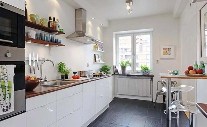 Полуостроная стойка в интерьере кухни 12 кв.м.