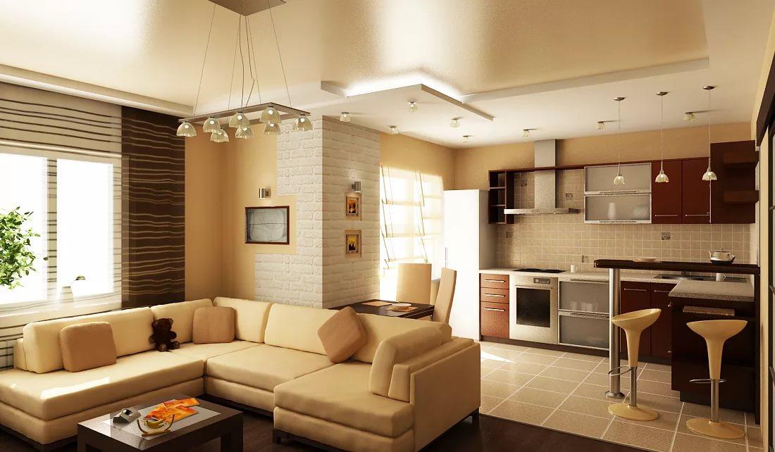 Преимущества совмещения гостиной с кухней