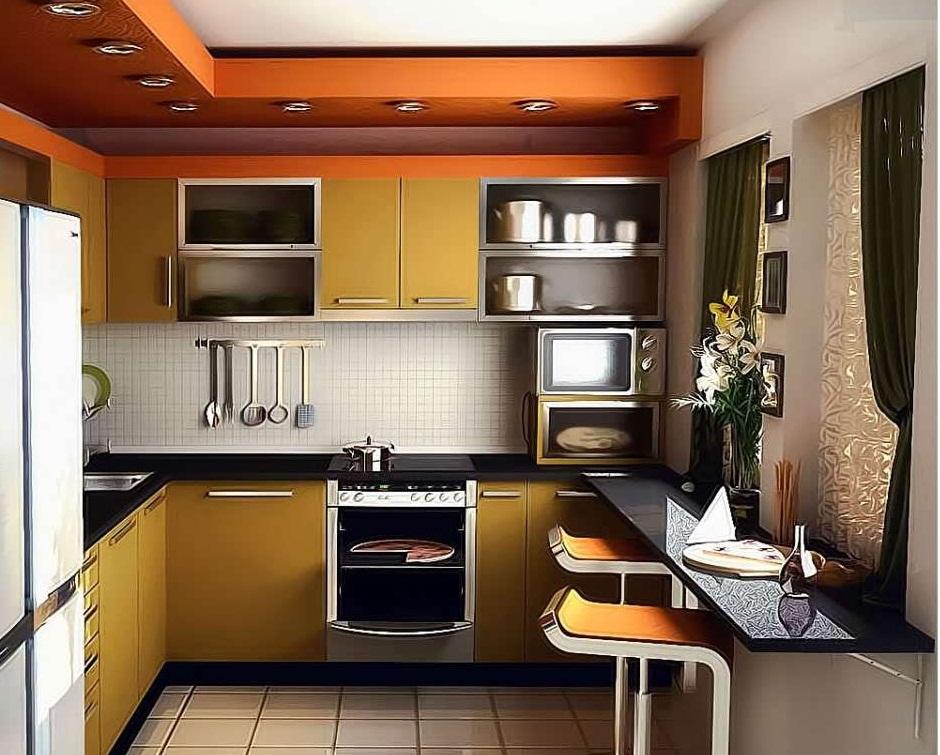 П-образное размещение мебели на кухне в двухкомнатной квартире
