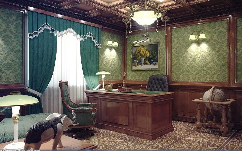 Рабочий кабинет в английском стиле