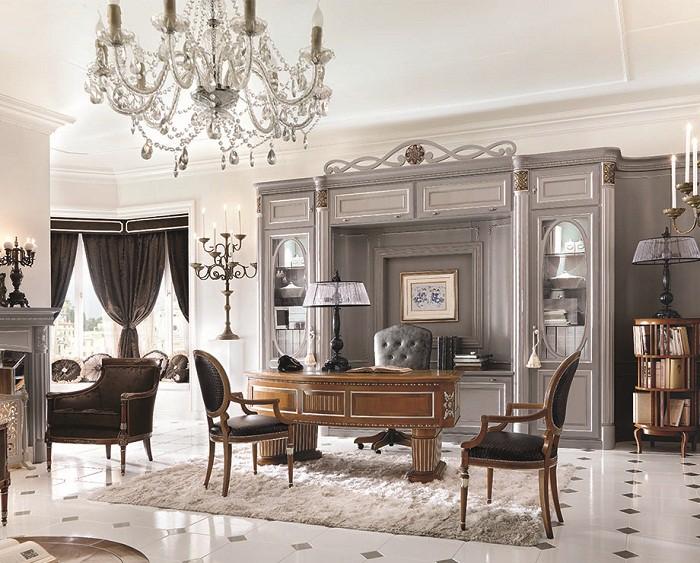 Рабочий кабинет в классическом стиле в белых тонах