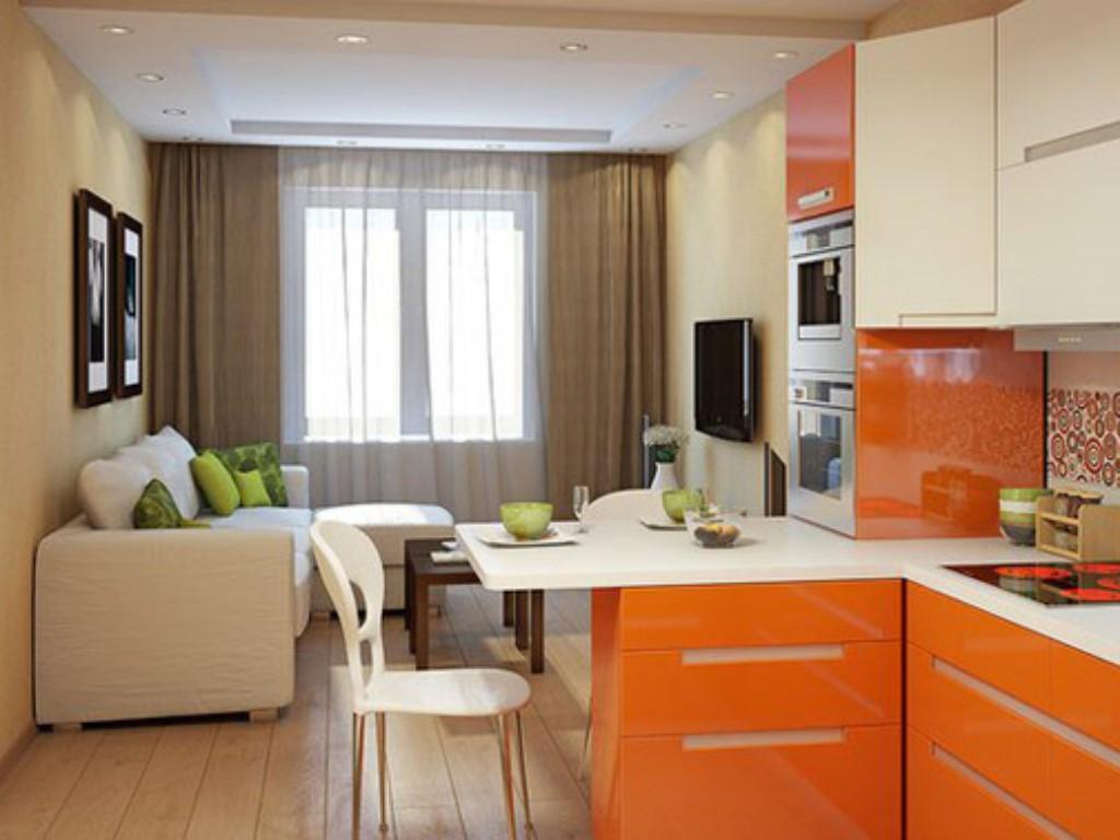 Разграничение гостинной и кухни 12 кв.м.