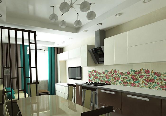 Разделение гостинной и кухни 12 кв.м. легкой перегородкой