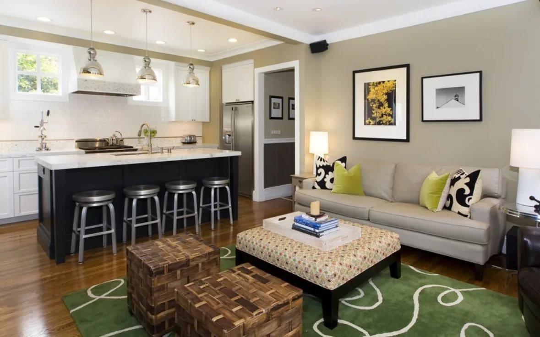 Разделение на зоны совмещенной гостиной с кухней 18 кв.м