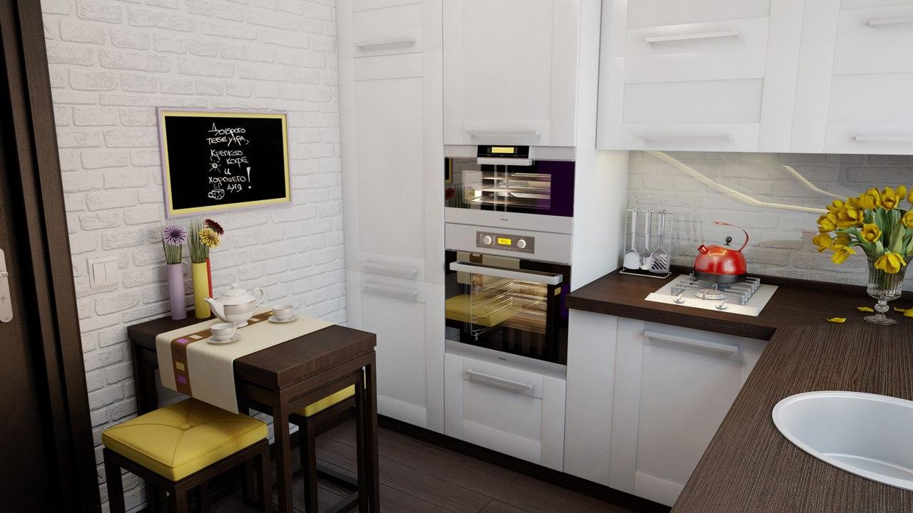 Размещение бытовой техники на кухне 6 кв.м