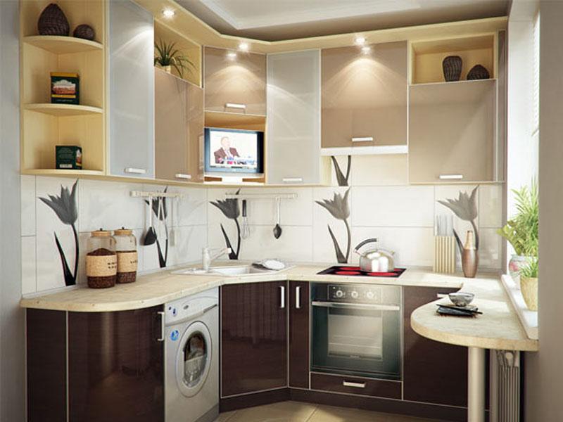 Размещение мебели в кухне в двухкомнатной квартире
