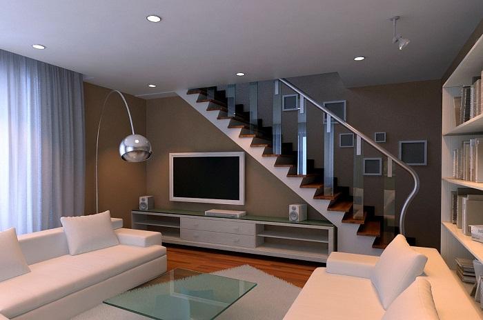 Размещение телевизора под лестницей в двухуровневой квартире