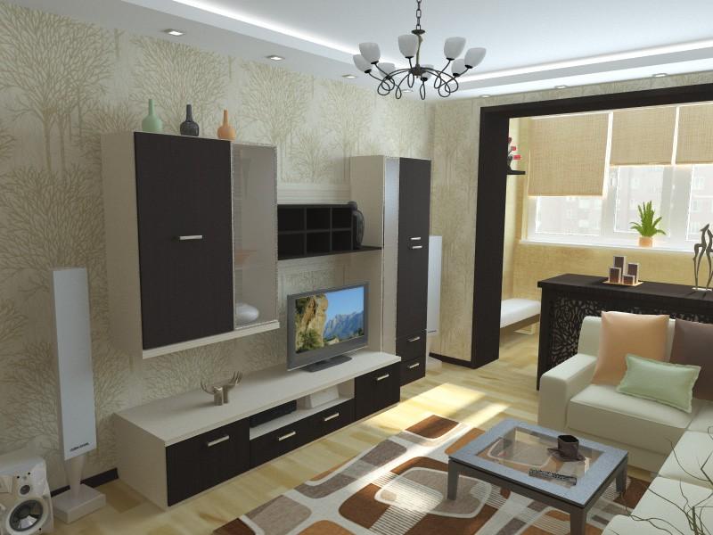 Расположение мебели в гостиной 18 кв.м