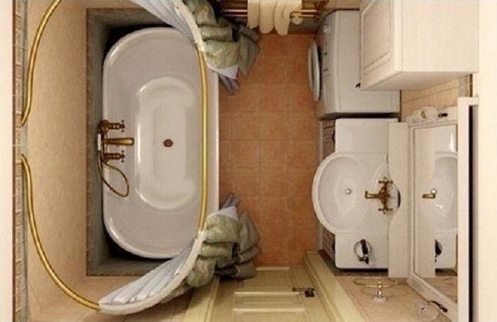 Расположение стиральной машины и раковины в ванной 4 кв.м
