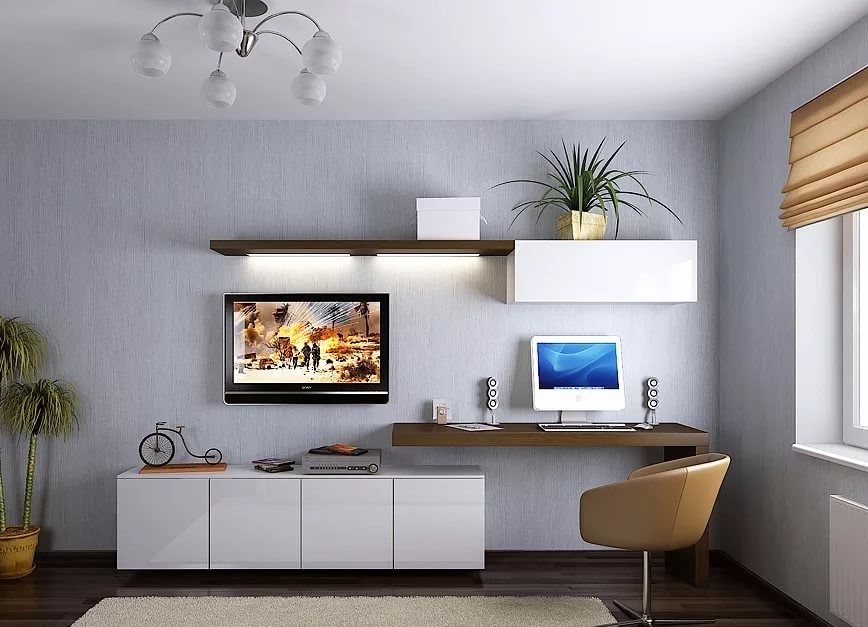 Расположение техники в гостиной 15 кв. м