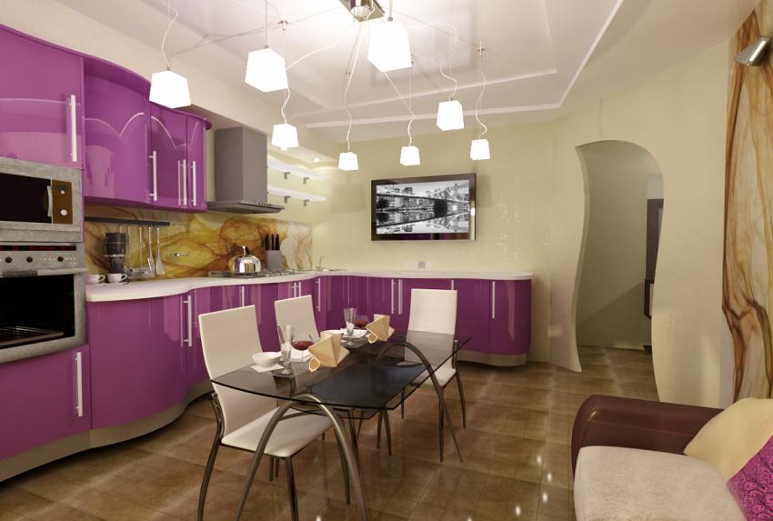 Расстановка мебели в кухне совмещенной с гостиной
