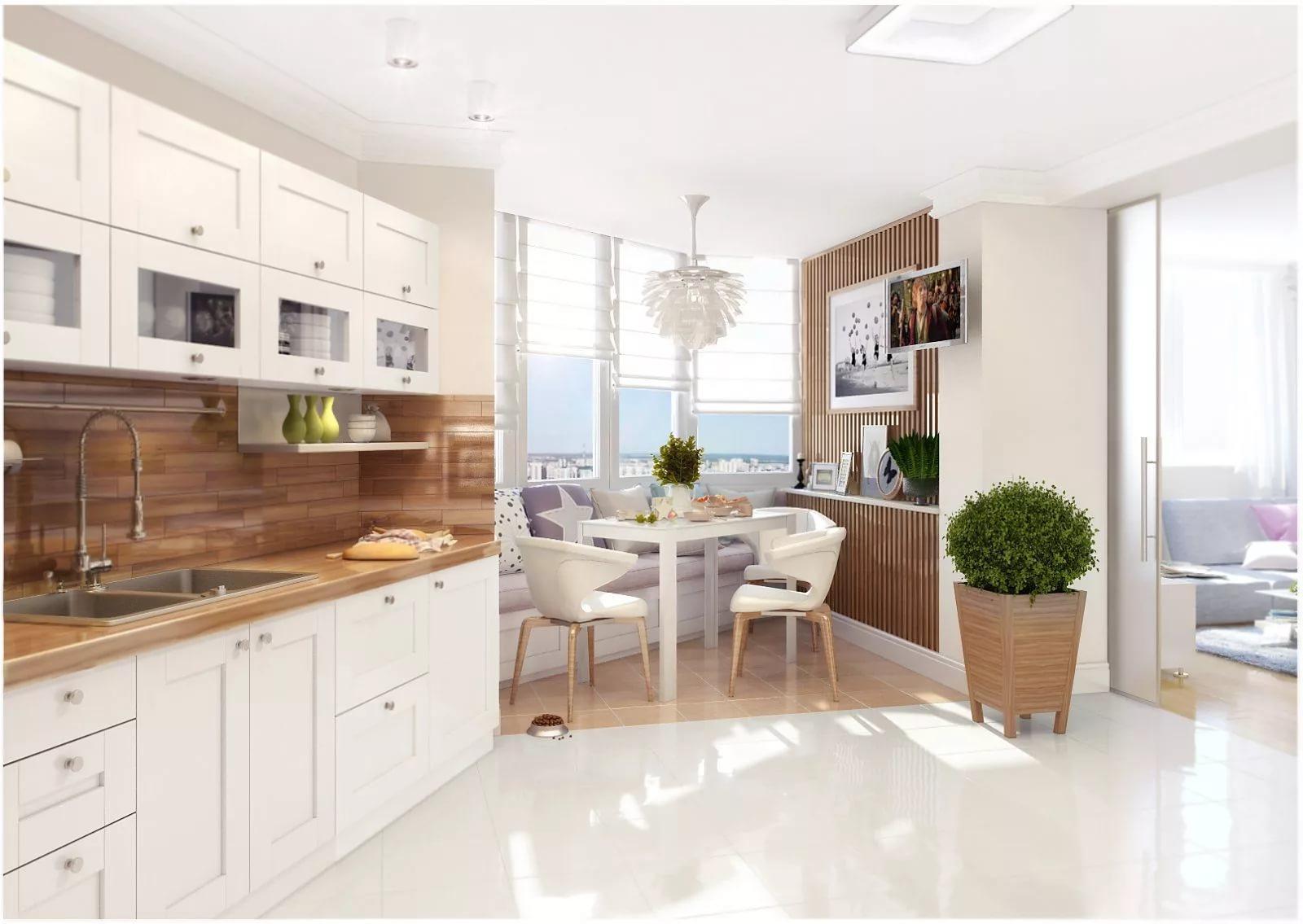 Светлая мебель на кухне скандинавского стиля