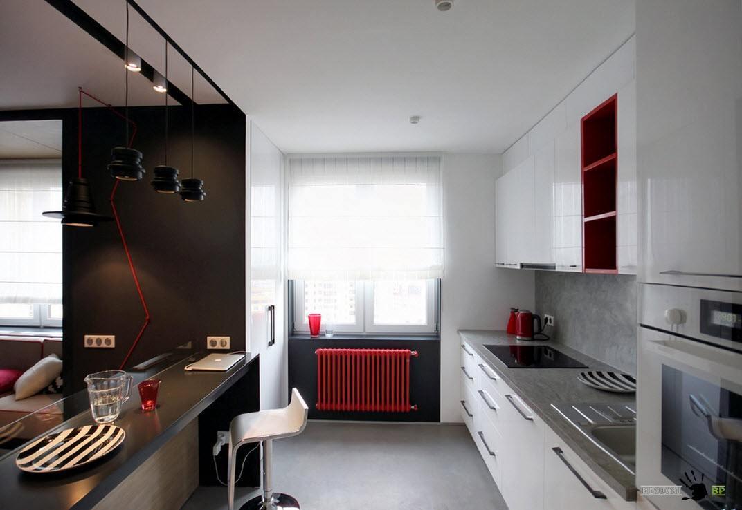 Светлые тона в кухне в двухкомнатной квартире для визуального увеличения
