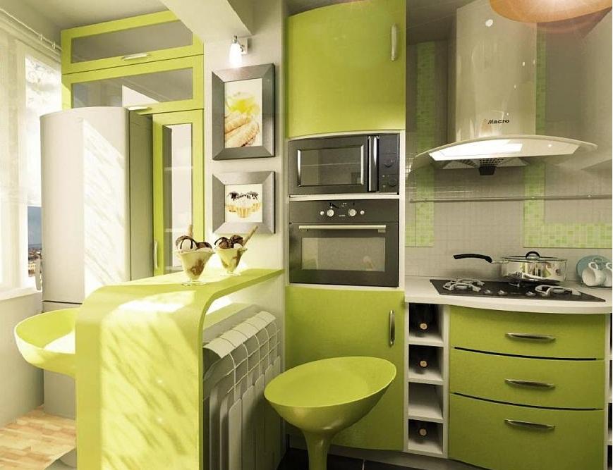 Современный дизан кухни с балконом