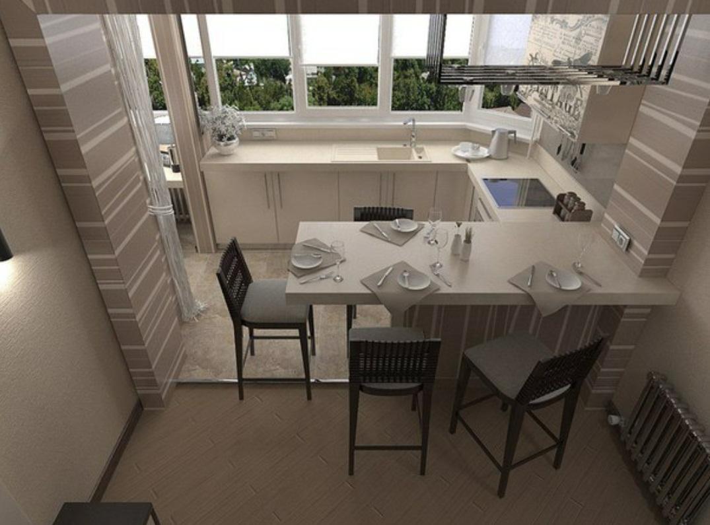 Совмещение кухни и лоджии в двухкомнатной квартире