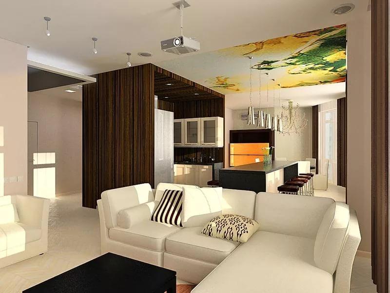 Совмещение кухни с гостиной в квартире-студии