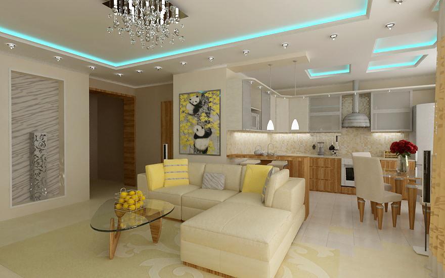 Совмещенная гостиная-кухня в светлых тонах
