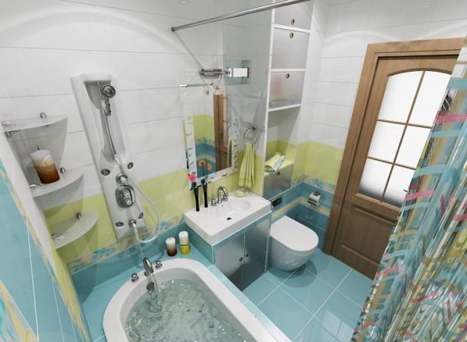 Совмещенный санузел в ванной 4кв.м