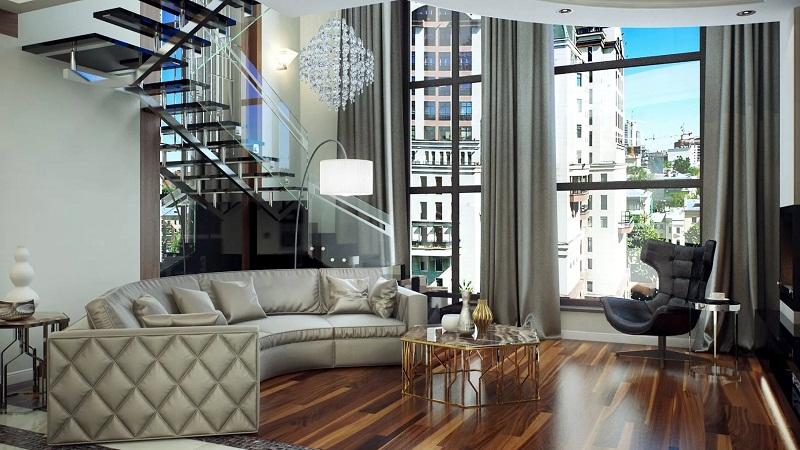Создание единого пространства в интерьере двухуровневой квартиры