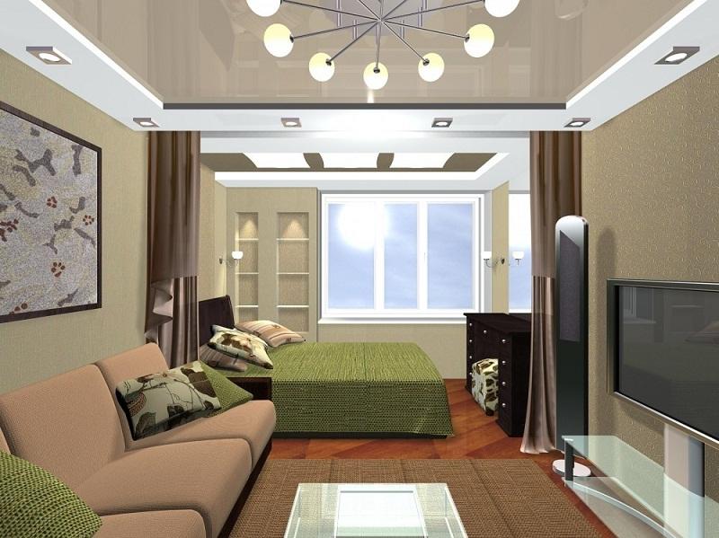 Спальная зона в объединенной гостинной в хрущевке