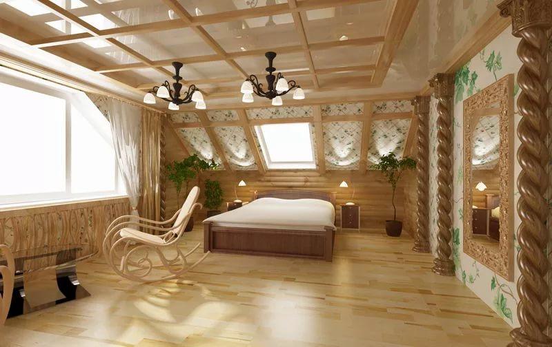 Стилистическое оформление спальни в котедже