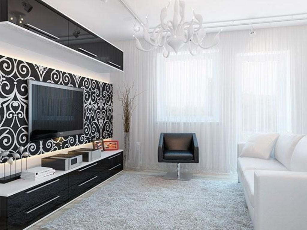 Стиль минимализм в гостиной 20 кв.м