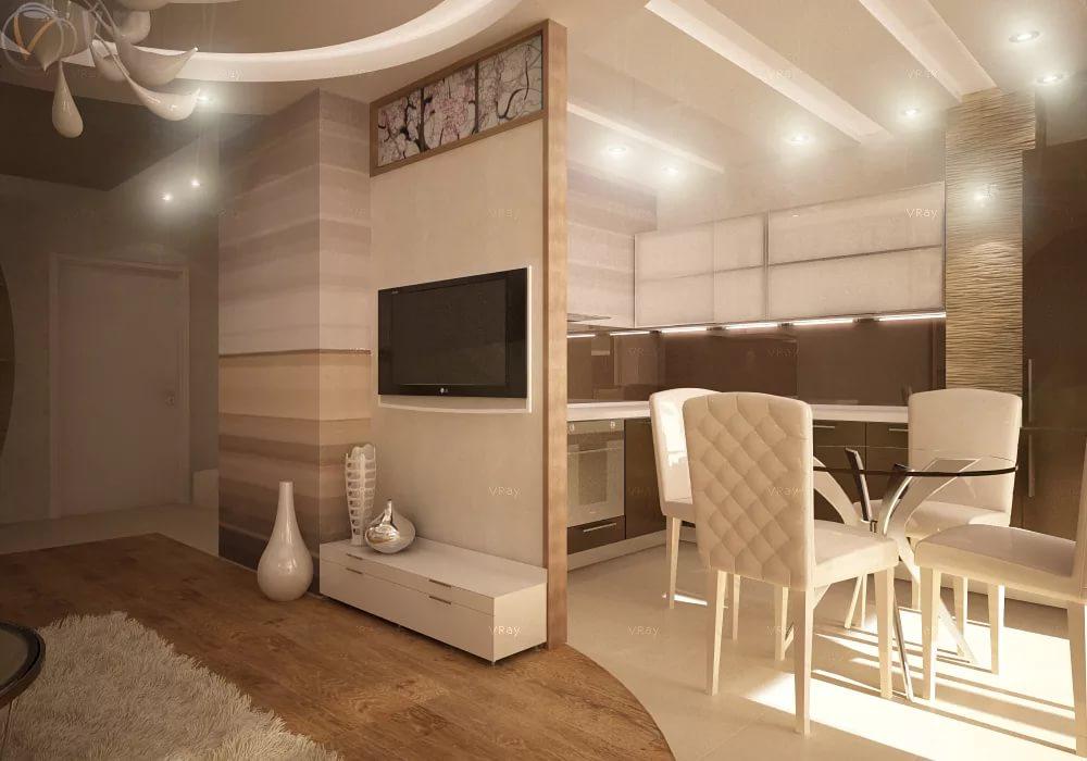 Столовая в сомещенной гостиной-кухне