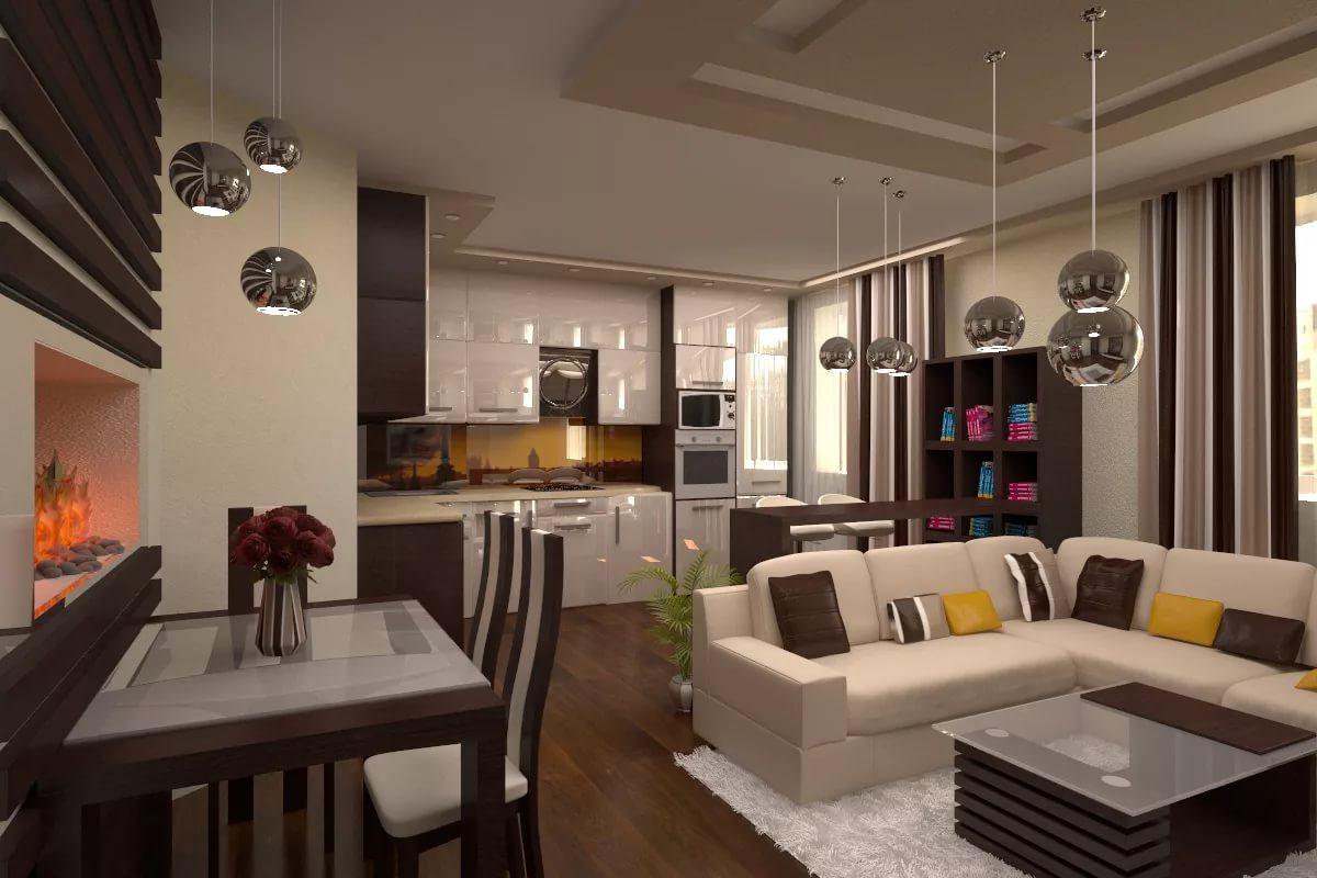 Столовая зона в дизайне гостинной-кухни