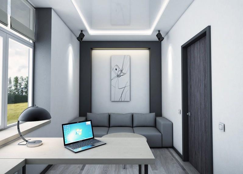 Стол в интерере кабинета в современном стиле