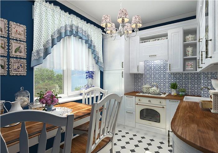 Текстиль на кухне 9 кв. м. в стиле прованс