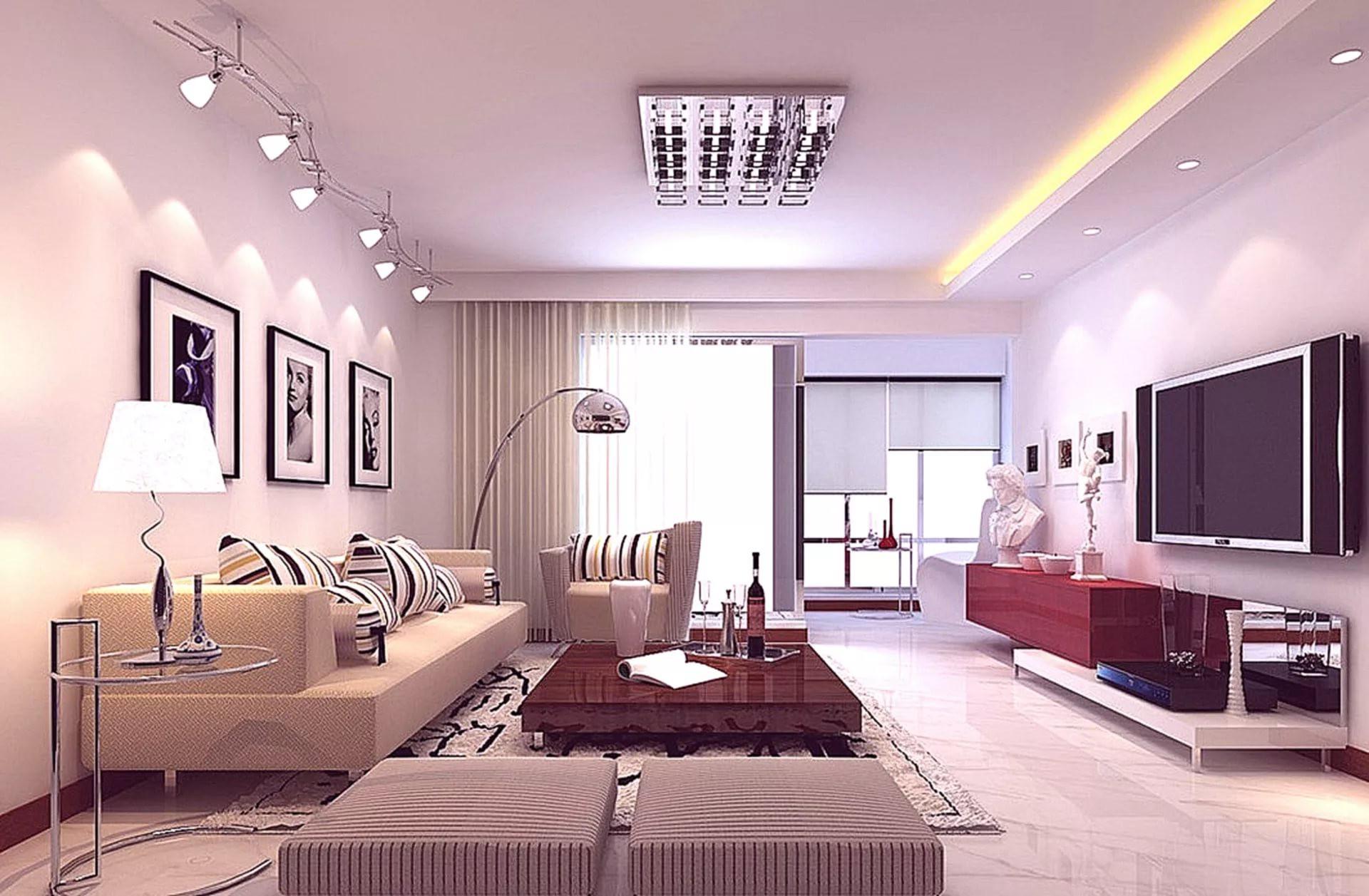Точечное освещение в гостиной комнате
