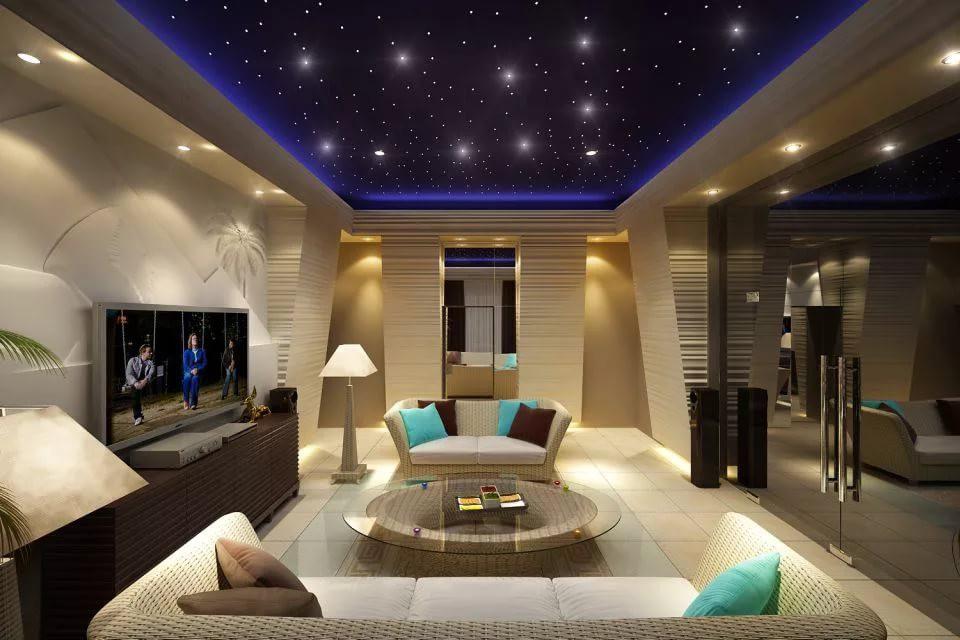 Точечные светильники в гостиной 20 кв.м