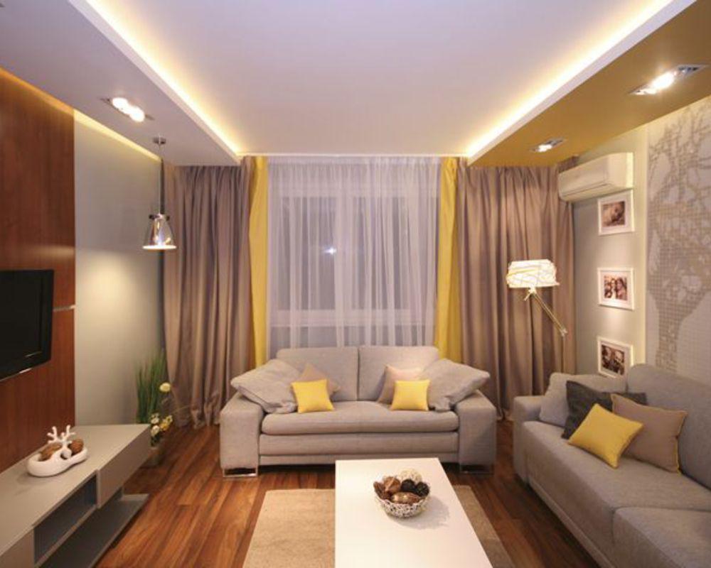 Точечные светильники в интерьере гостинной 15 кв.м