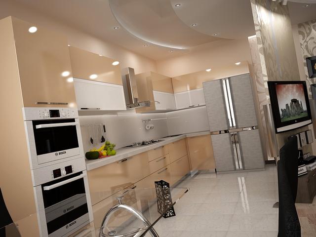 Угловая кухня в длинном помещении