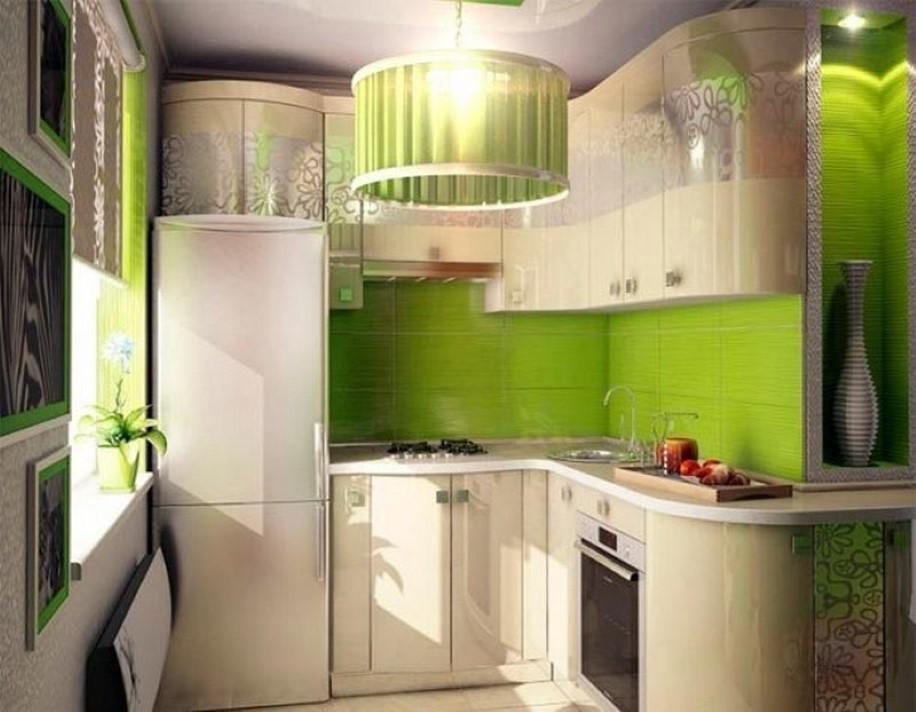 Угловое размещение мебели на кухне в двухкомнатной квартире
