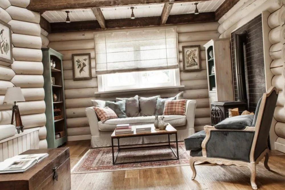 Украшение стен деревянного дома в скандинавском стиле