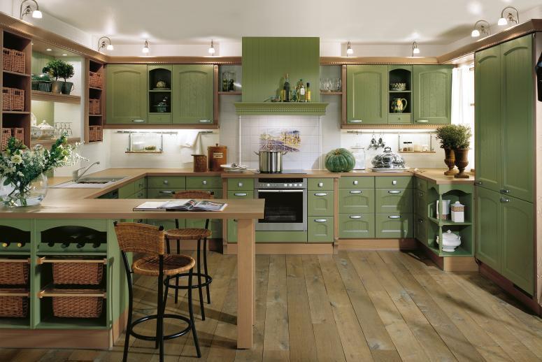 Фисташковая мебель в интерьере кухни