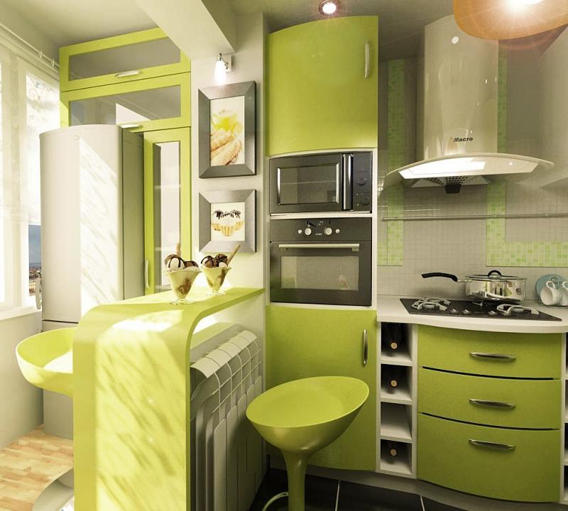 Холодильник на балконе объединенном с кухней