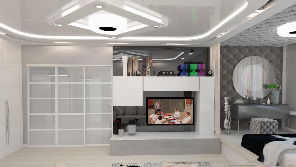 Цветовая гамма гостиной 20 кв. м оформленной в стиле хай-тек