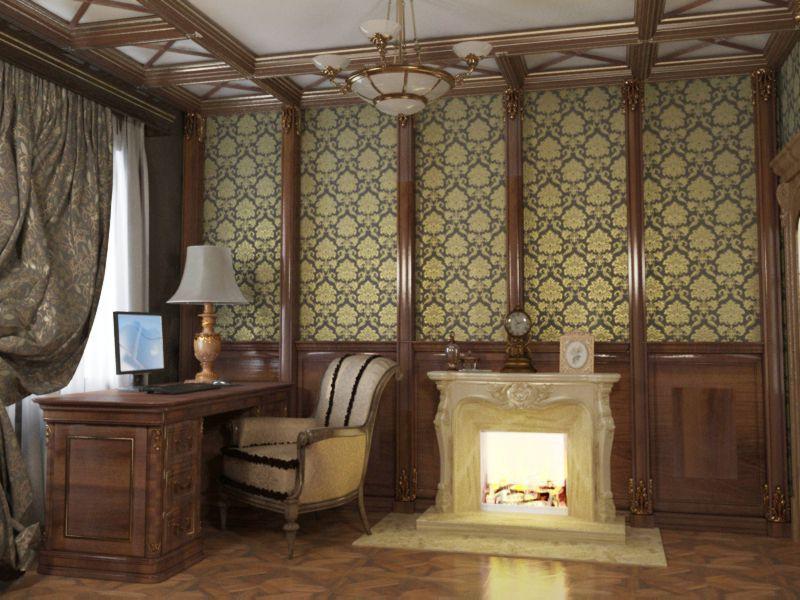 Цветовая гамма кабинета в английском стиле