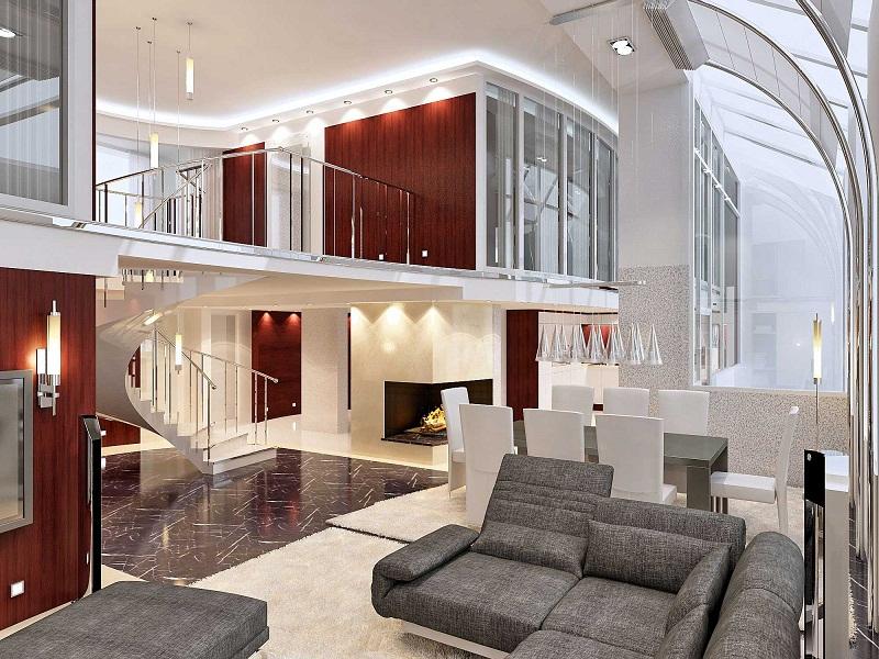 Цветовое решение в дизайне двухуровневой квартиры