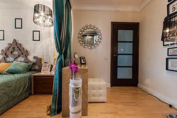 Цветовое зонирование зоны гостиной и спальни