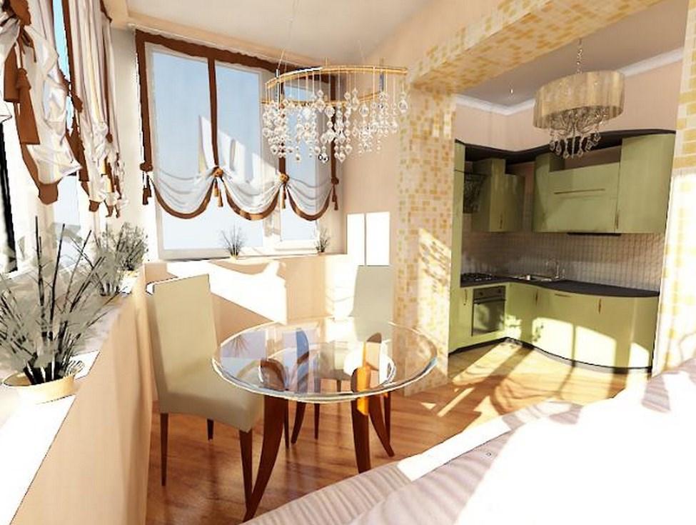 Цветовое зонирование кухни совмещенной с балконом