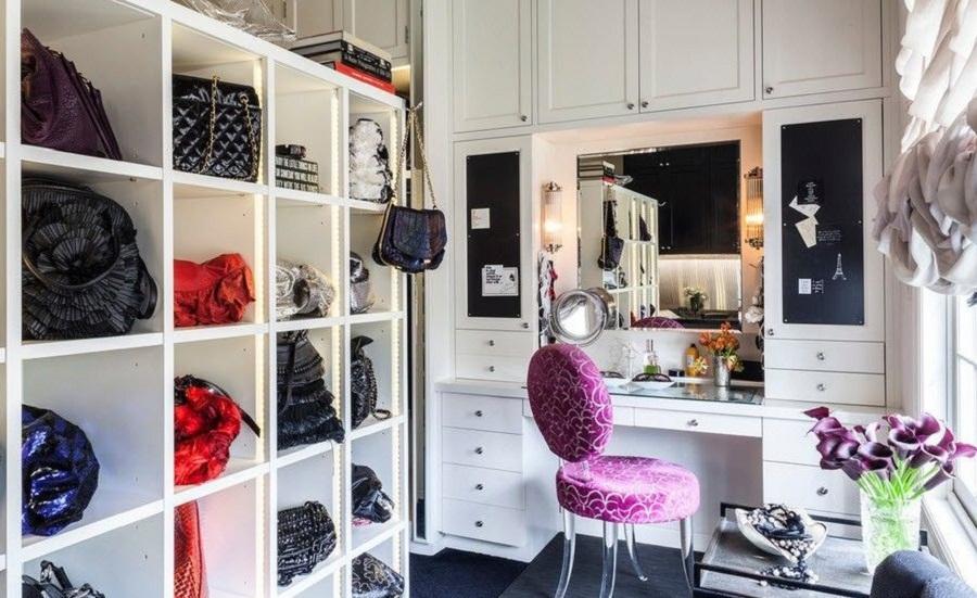 Цветовое решение для женской гардеробной
