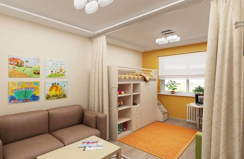 Ширма в дизайне уголка ребенка в однокомнатной квартире