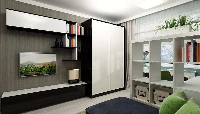 Шкаф в интерьере гостинной